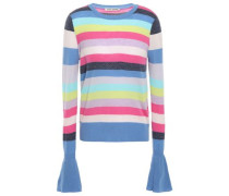 Woman Fluted Striped Cashmere Sweater Blue