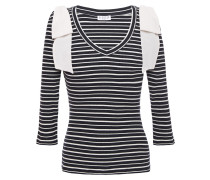 Woman Bow-embellished Ribbed Stretch Cotton-jersey Top Navy