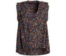 Ruffle-trimmed floral-print silk crepe de chine top