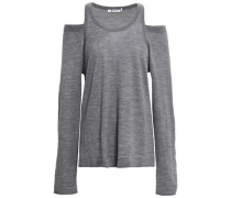 Cold-shoulder Mélange Merino Wool Top Gray