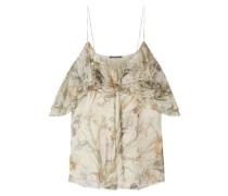 Cold-shoulder ruffled floral-print silk-georgette top