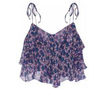Cropped ruffled floral-print silk-georgette top
