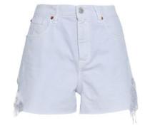 Distressed Denim Shorts Ivory  5