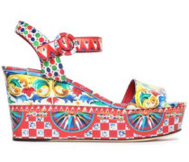 Printed glossed-leather wedge sandals