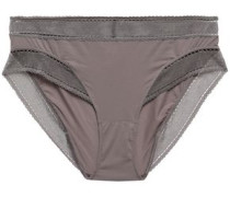 Peau D'ange Legere Mesh-trimmed Stretch-jersey Mid-rise Briefs Taupe