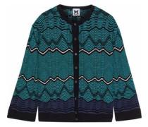 Crochet-knit Cotton-blend Cardigan Teal