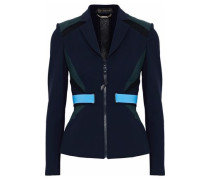 Color-block mesh-paneled stretch-knit blazer