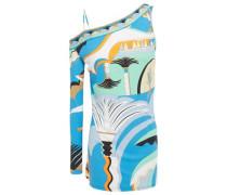 Woman One-sleeve Printed Crepe Top Azure