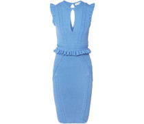 Majorca Ruffled Pointelle-knit Dress Light Blue