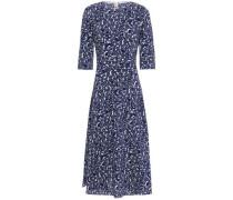 Woman Lylee Pleated Printed Silk-crepe Midi Dress Indigo