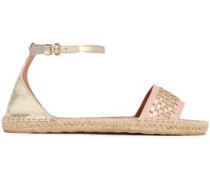 Embellished Smooth And Metallic Leather Espadrille Sandals Platinum