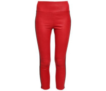 Cropped Stretch-leather Leggings Red