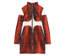 Tulle-paneled snake-print jacquard mini dress