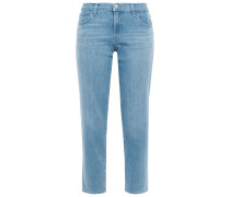 Woman Distressed Mid-rise Slim-leg Jeans Light Denim