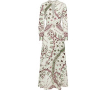 Woman Cutout Printed Crepe Maxi Dress Off-white