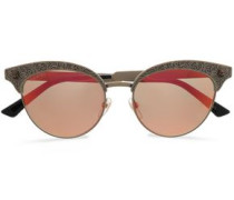 Woman Cat-eye Printed Gold-tone Mirrored Sunglasses Gold
