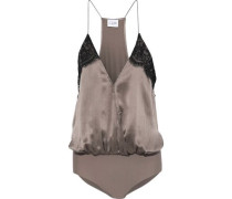 The Courtney Lace-trimmed Silk-charmeuse Bodysuit Taupe