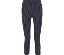 Woman Cropped Pinstriped Stretch-cotton Slim-leg Pants Midnight Blue