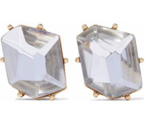 Gold-tone crystal clip earrings