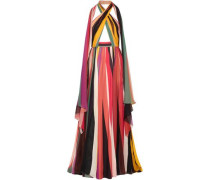 Striped silk-blend georgette halterneck gown