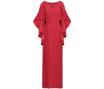 Cape-effect Draped Satin-crepe Gown Brick