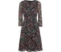 Ruffled Floral-print Georgette Dress Black
