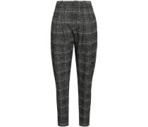 Checked Brushed Wool-blend Tapered Pants Black