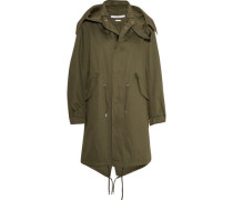 Hooded printed cotton-twill parka