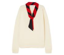 Woman Tie-neck Merino Wool Sweater Off-white