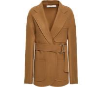 Belted Brushed Wool And Cashmere-blend Jacket Camel Size 14
