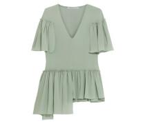 Aymmetric ruffled silk-blend crepe de chine blouse