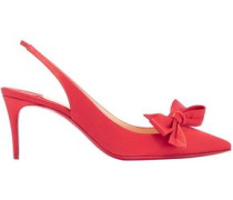 Bow-embellished Satin Slingback Pumps Tomato Red