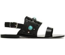 Studded laser-cut leather sandals