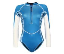 Printed Neoprene-blend Swimsuit Azure