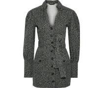Woman Mera Belted Leopard-print Cotton-canvas Mini Dress Animal Print