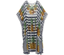 Striped silk-chiffon kaftan