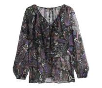 Ruffle-trimmed printed metallic silk-georgette blouse