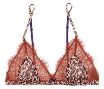 Wild lace and leopard-print chiffon soft-cup bra
