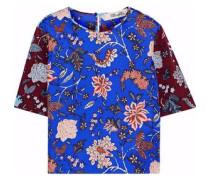 Floral-print Silk-faille Top Royal Blue Size 0