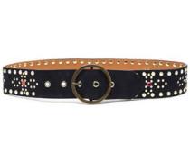 Crystal-embellished studded leather belt