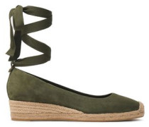 Suede Wedge Espadrilles Leaf Green