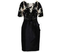 Bow-detailed Embroidered Tulle And Satin-twill Dress Black