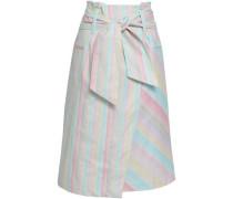 Tie-front Striped Cotton-blend Skirt Multicolor