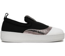 Woman Metallic Cracked Leather-trimmed Neoprene Slip-on Sneakers Black