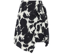 Asymmetric ruffled printed silk skirt