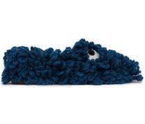 Embellished Wool Slippers Cobalt Blue