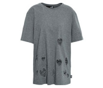 Embroidered Distressed Cotton-jersey T-shirt Gray