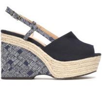 Canvas Espadrille Wedge Sandals Navy
