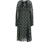 Bow-embellished printed chiffon dress