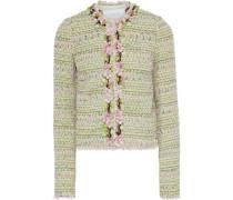 Cropped Floral-appliquéd Cotton-blend Tweed Jacket Light Green